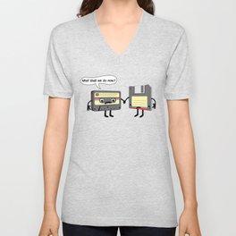 The Obsoletes (Retro Floppy Disk Cassette Tape) Unisex V-Neck