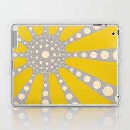 Abstract sunburst in mustard yellow, off-white, grey Laptop & iPad Skin