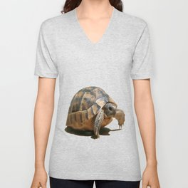 Portrait of a Young Wild Tortoise Isolated Unisex V-Neck