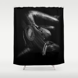 Guitar Woman Black and White Shower Curtain