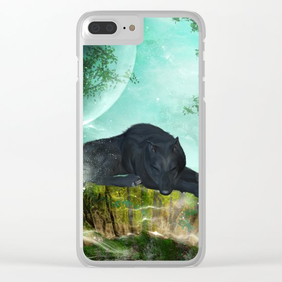 Awesome sleeping wolf Clear iPhone Case