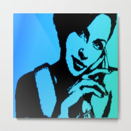 Girl from the Psychology Book Blue Metal Print