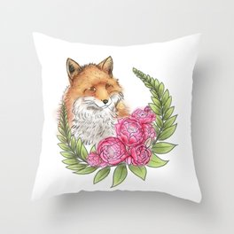 Fox in Bloom Throw Pillow