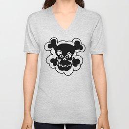 Funny Skull  Black Gray Unisex V-Neck