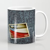 chile Mugs featuring Chile grunge sticker flag by Lulla