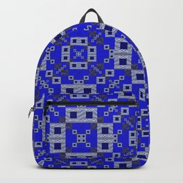 Vibrant Blue Indigo Grey Futuristic Quilt Print Backpack
