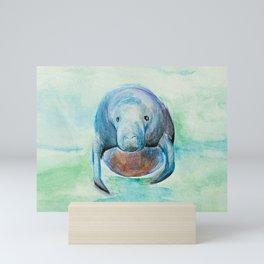 Underwater Manatee Watercolor Mini Art Print