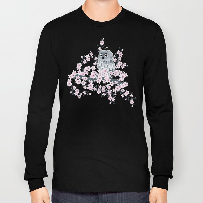 Cute Owl and Cherry Blossoms Pink Gray Long Sleeve T-shirt