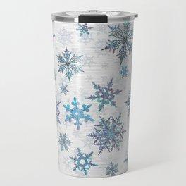 """Embroidered"" Snowflakes on white canvas Travel Mug"