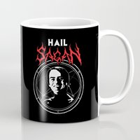 carl sagan Mugs featuring HAIL SAGAN by Normal-Sized Deet
