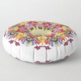 Abundantly colorful orchid mandala 1 Floor Pillow