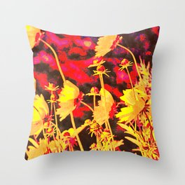 Blowing In The Wind Floral Throw Pillow