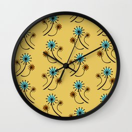 Mid Century Modern Dandelions on yellow Wall Clock