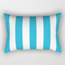 Cerulean (Crayola) azure - solid color - white vertical lines pattern Rectangular Pillow