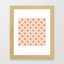 Bisque Gold Glitter Dot Pattern Framed Art Print