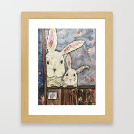 May we come in?   Bunny Invitation Framed Art Print