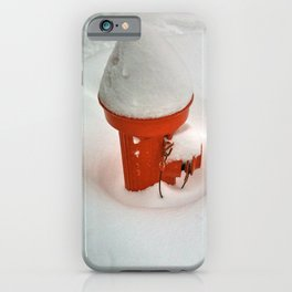 Snow on a Red Fire Hydrant iPhone Case