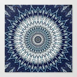 Indigo Navy White Mandala Design Canvas Print
