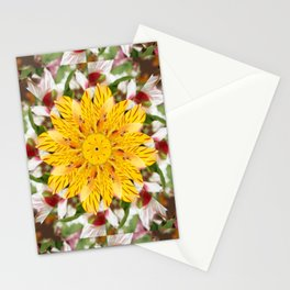K137 Yellow Flower Kaleidoscope Stationery Cards