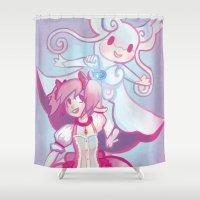 madoka Shower Curtains featuring Madoka & Mega Audino by Sarsoura