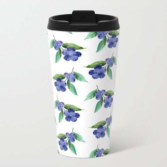 Blueberries Stripes Metal Travel Mug