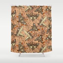 Death's-head hawkmoth rust Shower Curtain