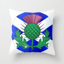 Scotish Flag And Thistle Button Throw Pillow