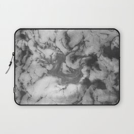 Shin - spilled ink black and white minimal modern watercolor marble printmaking painting monochrome Laptop Sleeve