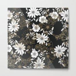 Modern black white faux gold elegant floral Metal Print