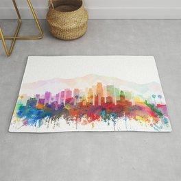 Los Angelrs City Skyline Watercolor by zouzounioart Rug