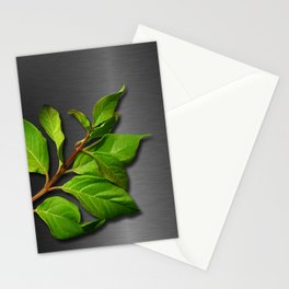 Green Leaves & Metallic Background Stationery Cards