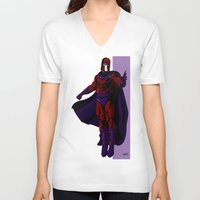 magneto V-neck T-shirts featuring Magneto by Andrew Formosa