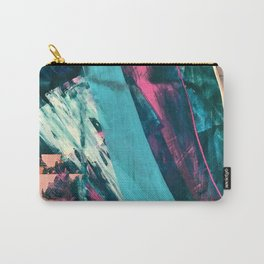 Wild [7]: a bold, colorful abstract mixed-media piece in teal, orange, neon blue, pink and white Carry-All Pouch