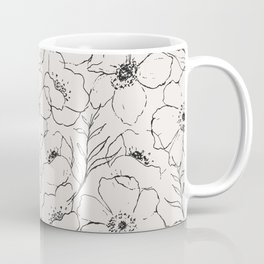 Floral Simplicity - Neutral Black Coffee Mug