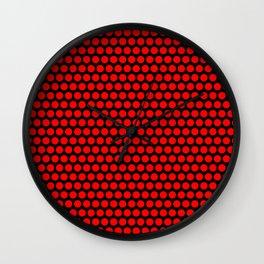 Polka / Dots - Red / Black - Large Wall Clock