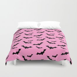 Black Bat Pattern on Pink Duvet Cover