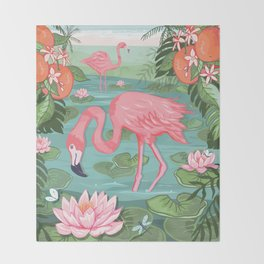 Flamingo and Waterlily Throw Blanket