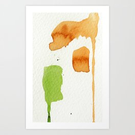 Orange and Green Abstract Art Art Print