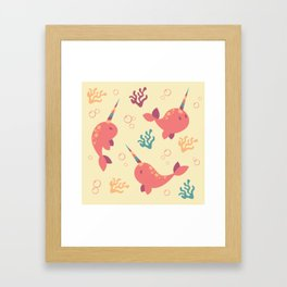 To the Window to the Narwhal - Coral & Cream Framed Art Print
