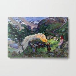 Tyrol Mountains Summer Solstice Eve Alpine Bonfires landscape painting by Nikolai Astrup Metal Print