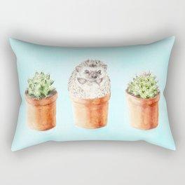Hedgehog Watercolor Cactus Terra Cotta Pots Rectangular Pillow