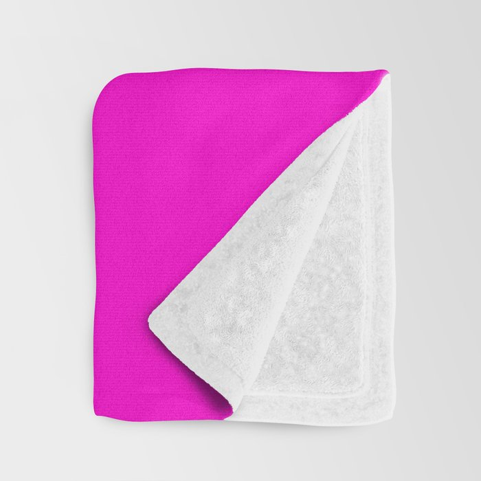 Pink neon color bright summer Throw Blanket