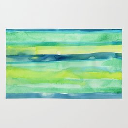 Spring Colors Stripes Pattern Blue Green Yellow Rug