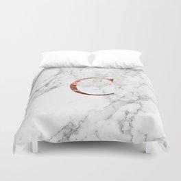 Monogram rose gold marble C Duvet Cover