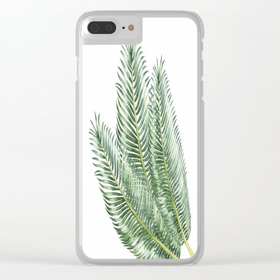 Three Palm Leaves Clear iPhone Case