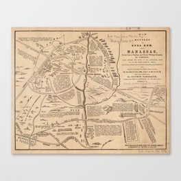 Vintage Map of The Battle of Bull Run (1861) Canvas Print