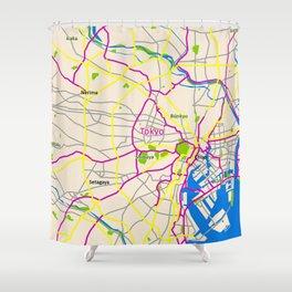 Tokyo Map Design Shower Curtain