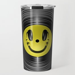 Vinyl headphone smiley Travel Mug