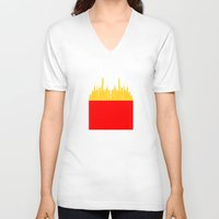 fries V-neck T-shirts featuring City Fries by OneWeirdDude