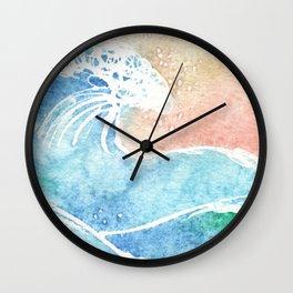 Watercolor Sunset Hawaiian Wave Wall Clock